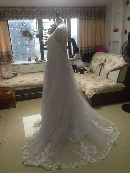 D241 Real Made Long Chapel Train Ball Gown Wedding Dresses, Pregant  Wedding Bridal