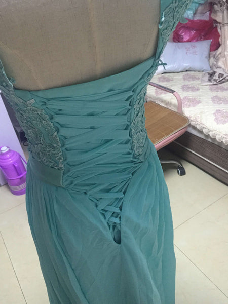 D242 Back Lace Up Long Chiffon Prom Gowns, Lace Appliques Bridesmaid Dress