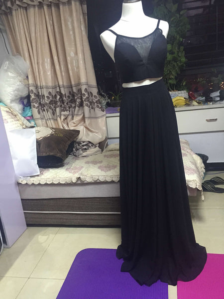 D243 Spaghetti Straps Black Chiffon Long Prom Dress, 2 Pieces Evening Gowns