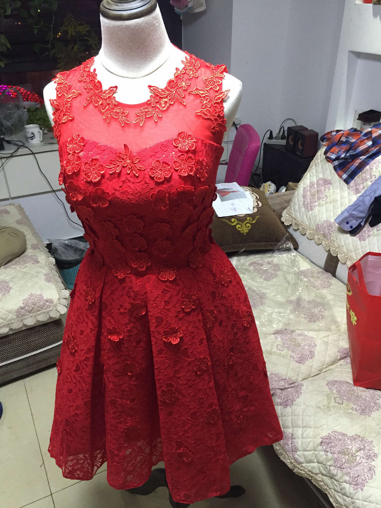 D245 Short Black Homecoming Dress, Red Lace Appliques Cocktail Dresses,Real Photos Dresses