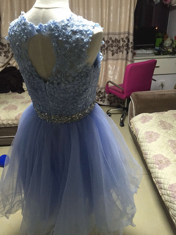 D246 Short Tulle Homecoming Dresses, Lace Appliques Cocktail Dresses, Real Photos Dresses