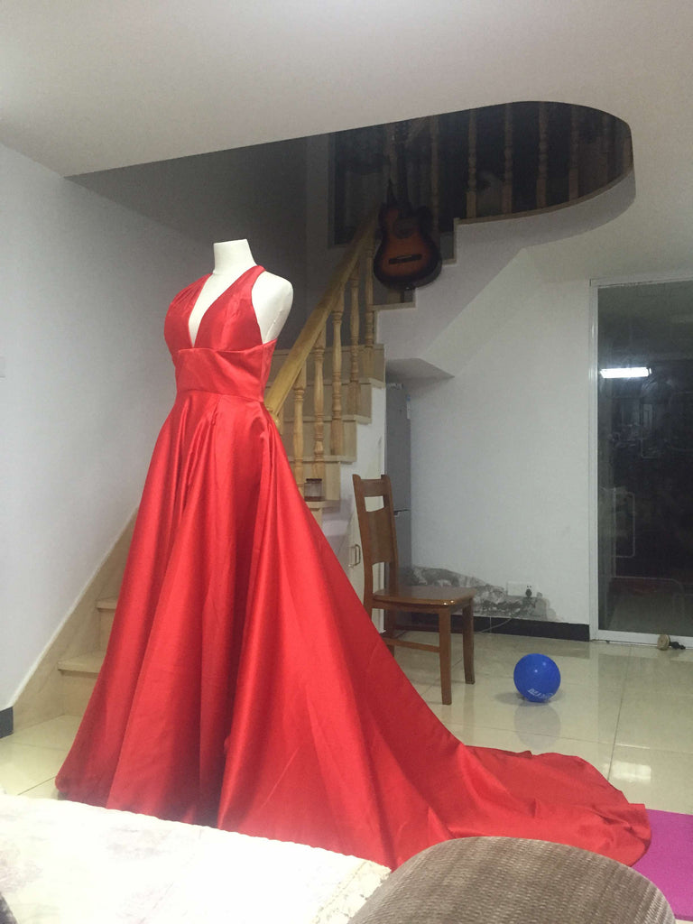 D251 Red Satin Long Prom Gowns, Charming Lady Dresses, V Neck Wedding Bridal Gowns