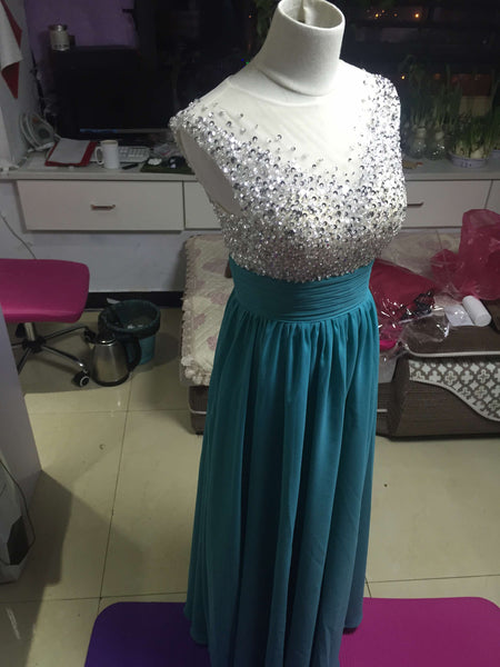 D252 Handmade Beaded Long Chiffon Prom Gowns, Empire Waist Evening Gowns