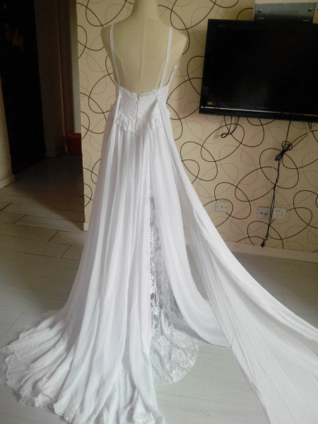D253 Spaghetti Sraps Summer Beach Wedding Dresses, Hign Quality Lace Wedding Dresses