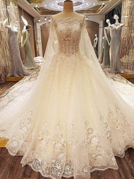 D262 Strapless Long Chapel Train Off the Shoulder Long Sleeve Wedding Bridal Gowns, Princess Long Wraps Wedding Dresses