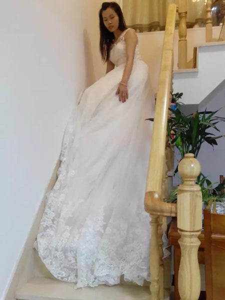 D255 Long Chapel Train Wedding Dresses, Lace Top Wedding Dresses