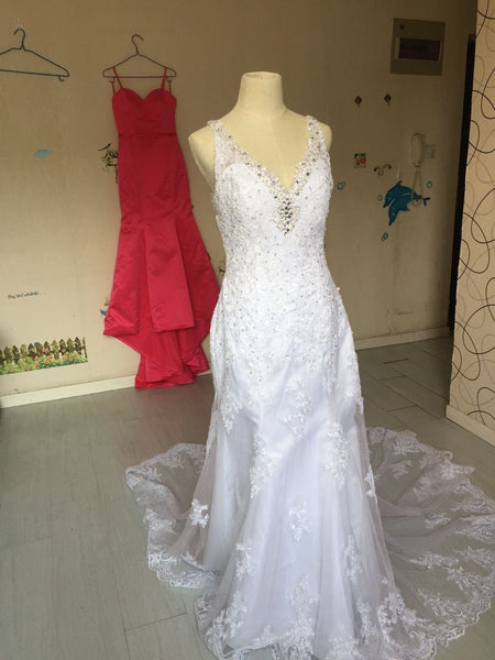 D259 Spaghetti Sraps Summer Beach Wedding Dresses, Hign Quality Lace Wedding Dresses