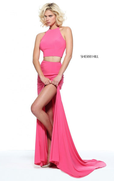 D269 Halter 2 Pieces Side Slit Long Prom Dresses, Pink Long Sexy Mermaid Evening Gowns