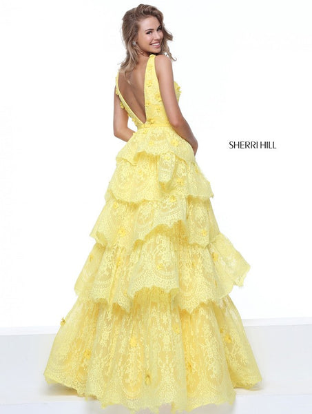 D271 Sexy V Neck Daffodal Long Prom Dresses, Layers Lace Floor Length Evening Gowns