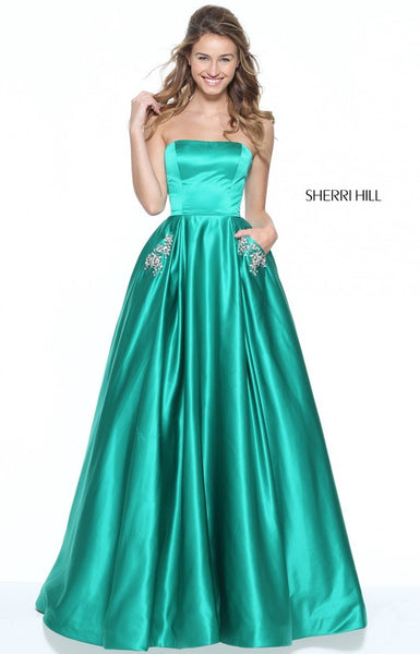 D272 Strapless A Line Long Prom Gowns, Watermelon Satin Prom Gowns