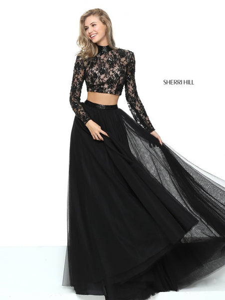 D273 Charming New Fashion Lace Long Sleeve Evening Dresses, 2 Pieces Black Lace Evening Dresses