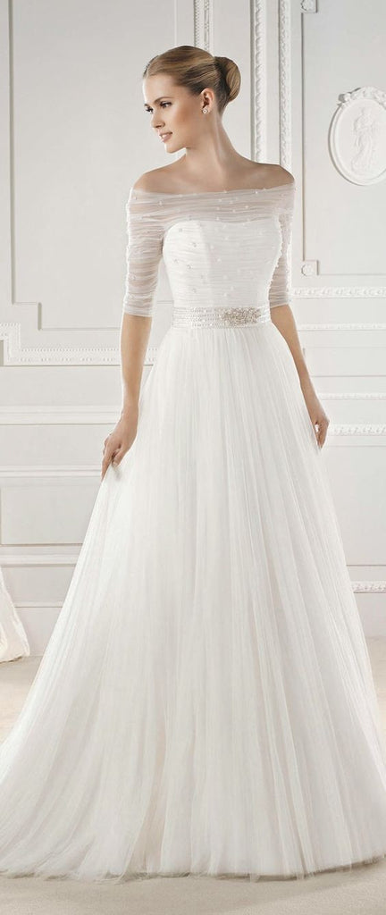 D275 Half Sleeve One Boat Neck Wedding Bridal Gowns,Floor Length ...