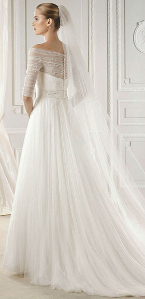 D275 Half Sleeve One Boat Neck Wedding Bridal Gowns,Floor Length Wedding Dresses