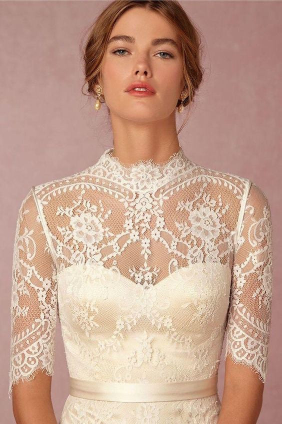 D276 Lace Top High Neck Half Sleeve Wedding Dresses Lace Mermaid
