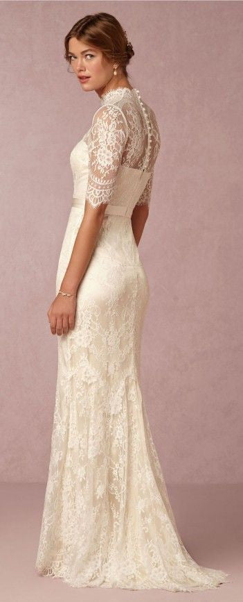 D276 Lace Top High Neck Half Sleeve Wedding Dresses, Lace Mermaid Wedding Bridal Gowns