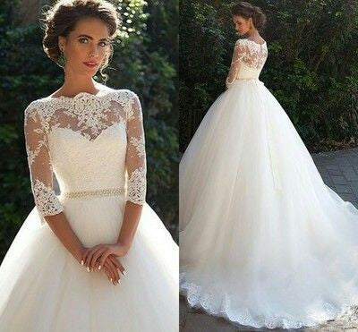 D277 Charming Princess Three Quarters Ball Gowns Wedding Dresses, Empire Long Chapel Train Wedding Bridal Gown