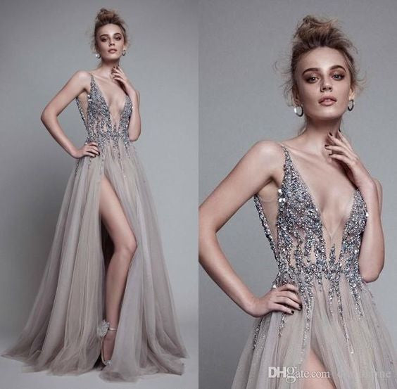 D278 Sexy V Neck Side Slit Handmade Beaded Long Prom Gowns, Backless Long Evening Gowns