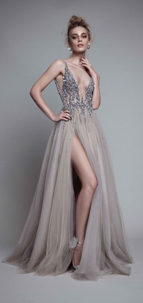 D278 Sexy V Neck Side Slit Handmade Beaded Long Prom Gowns Backless