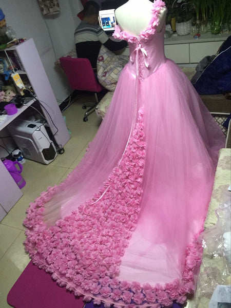 D279 Handmade Flower Appliques Wedding Bridal Gowns, Princess Charming Lady Wedding Dresses Real Made