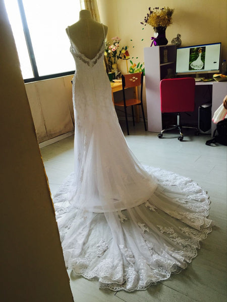 D281 Spaghetti Sraps Summer Beach Wedding Dresses, Hign Quality Lace Wedding Dresses