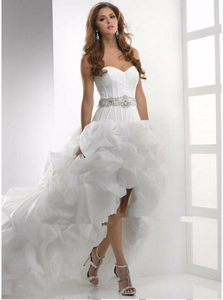 D282 High-Low Long Chapel Train Wedding Bridal Gowns, Back Lace Up Wedding Dresses