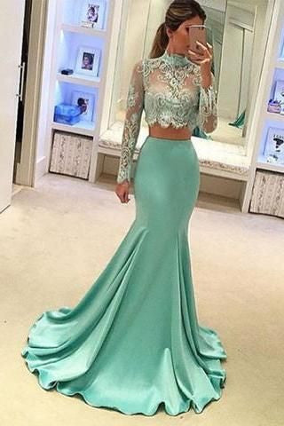 D283 Lace Top High Neck Long Sleeve Prom Gowns, Mermaid Mint Satin Long Evening Dresses