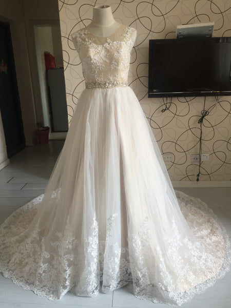 D284 Real Photos Wedding Bridal Gowns, Champagne Liner Empire Princess Wedding Dresses