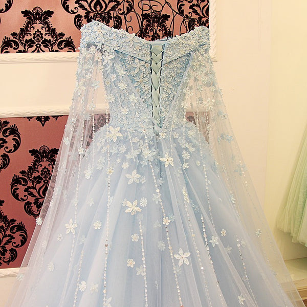 D260 Off the Shoulder Long Sleeve Wedding Party Gowns, Light Blue Evening Dresses,Chapel Train Real Made  Prom Gowns