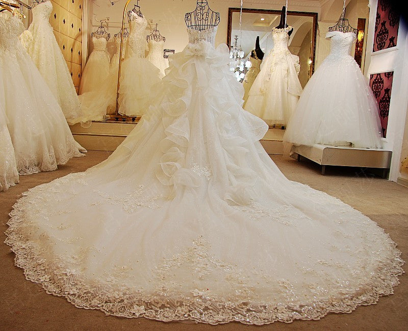 D261 Real Made Long Champel Train Wedding Dresses Luxury Photos Handmade Bridal Gowns