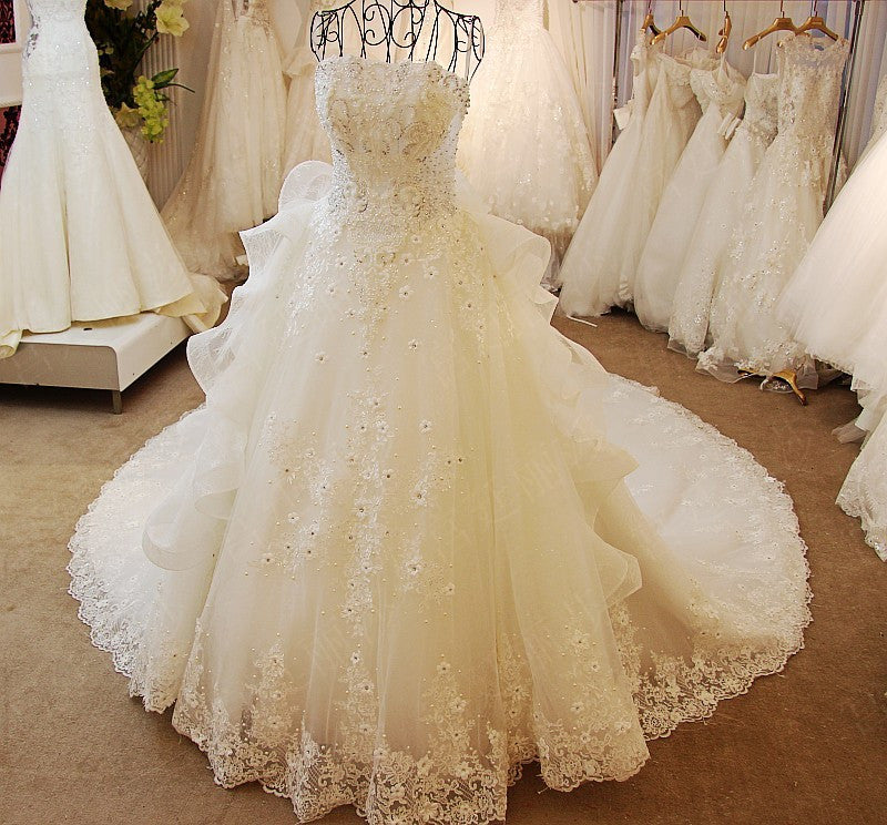 D261 Real Made Long Champel Train Wedding Dresses, Luxury Real ...