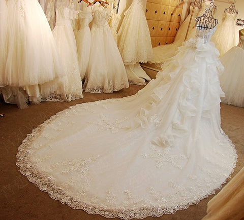 D261 Real Made Long Champel Train Wedding Dresses, Luxury Real Photos Handmade Wedding Bridal Gowns
