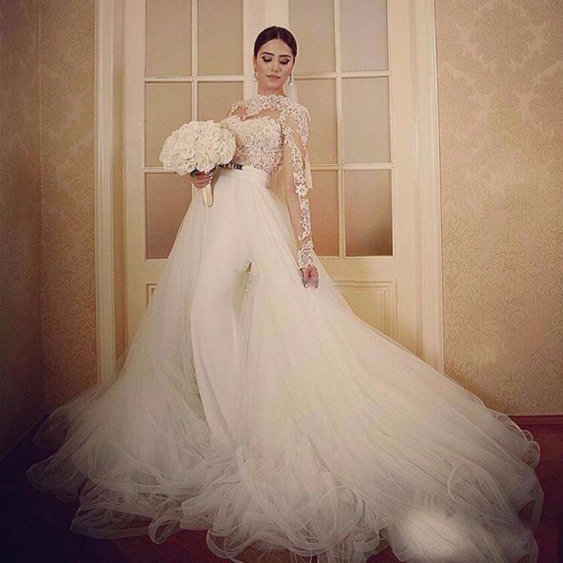 E10 2017 long sleeves lace ball gown wedding dresses removable skirt ...