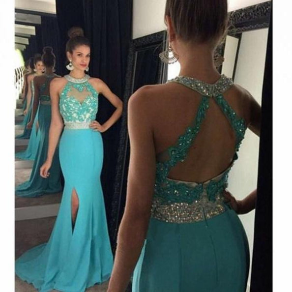 E11 2017 Mermaid Long Prom Dress, Blue Long Prom Dress with Open Back