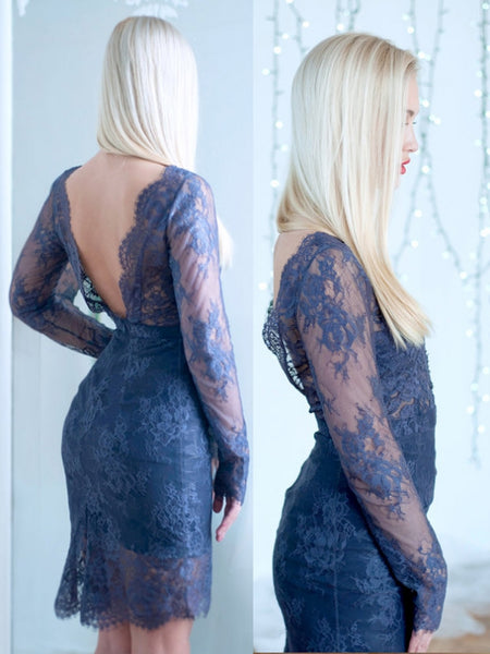 E12 Long Sleeve Homecoming Dress,Lace Prom Dress, Backless Prom Dress,