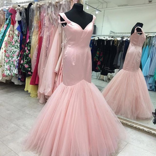 E13 2017 Pink Long Prom Dress, Off the shoulder Mermaid Long Prom Dress, Pink Long Formal Evening Dress