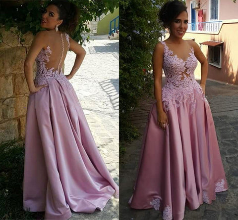 E14 2017 Prom Dress, Long prom Dress, Pink Prom Dress, Lace Appliques Prom Dress