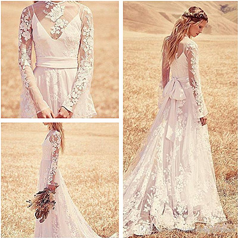 E18 High Collar Lace A-Line Wedding Dresses With Appliques Plus Size ...
