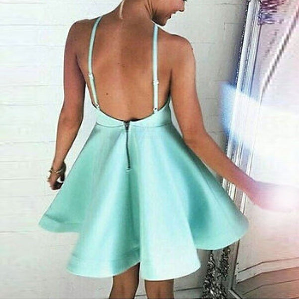 E21 A-Line Halter Backless Short Mint Green Satin Homecoming Dress