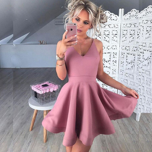 E22 A-Line V-Neck Sleeveless Short Blush Satin Prom Homecoming Dress