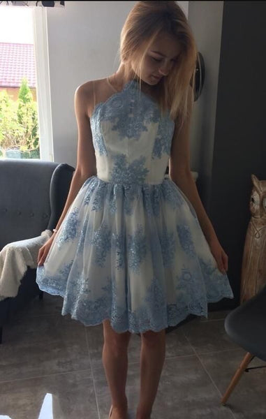 E2 Sleeveless Halter Knee Length Lace Appliques Light Blue Homecoming Dress Short Prom Gowns