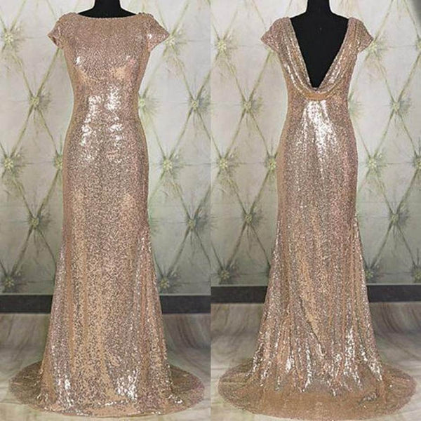 E35 Sweep Brush Train Sheath Evening Dress Discount,Sequins Long Prom Gowns