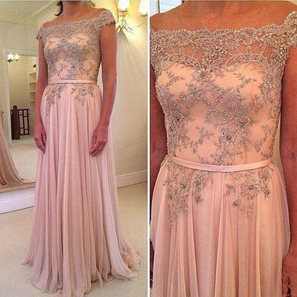 E36 Capped Sleeves Off-the-Shoulder A-Line Pink Prom Dress Evening Dresses