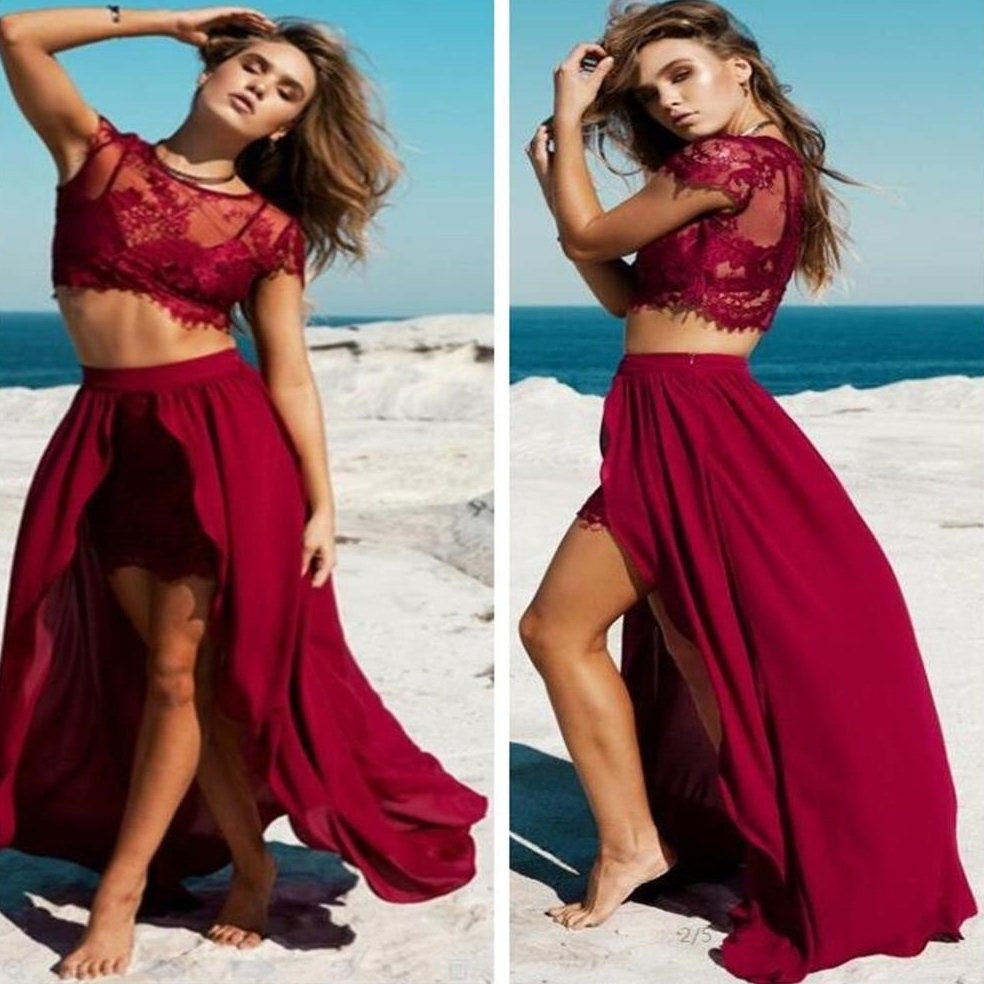 E37 Capped Sleeves Round Lace Zipper High-Low A-Line Prom Dress Custom Made,Burgundy Long Prom Gowns
