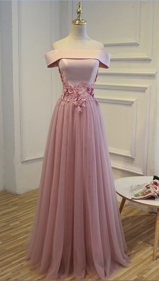 E3 One Boat Neck Short Sleeve A Line Pink Tulle Prom Gowns, Wedding Bridal Party Dress