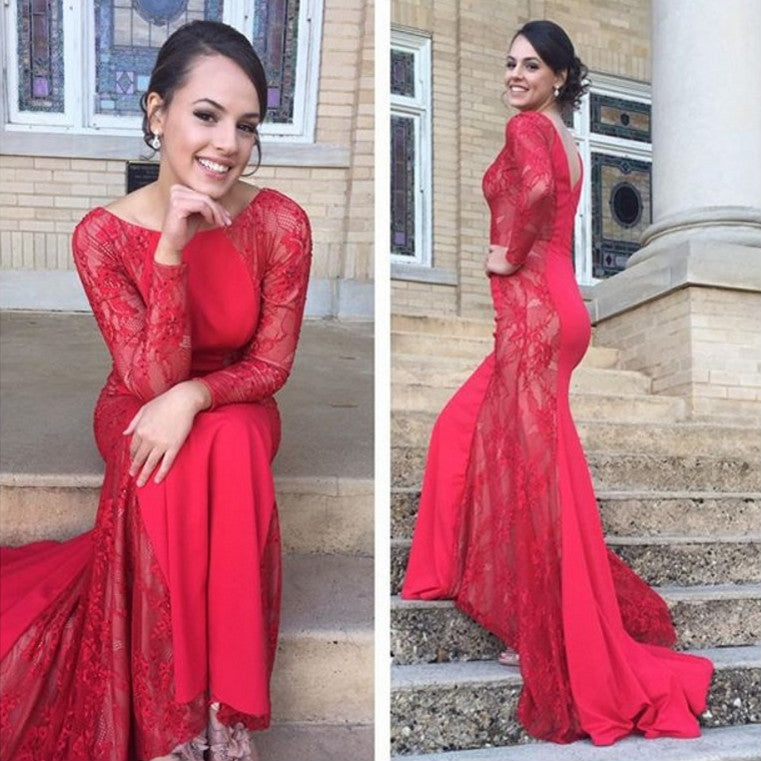 E48 Full sleeve Bateau Lace Mermaid Red Lace Long Sleeve Wedding Dress Prom Dresses