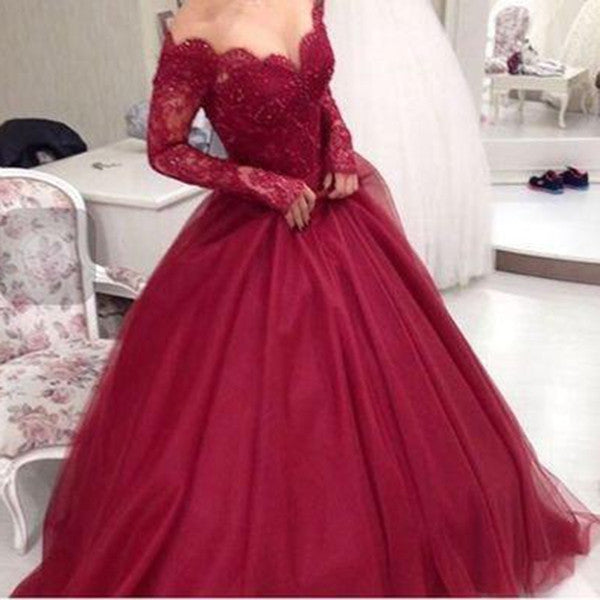 E50 Ball Gown Burgundy Weddingg Bridla Gowns,Lace Long Sleeve Ball Gown Wedding Dress