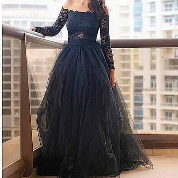 E51 Off-the-Shoulder Lace Zipper Floor-Length Ball Gown Black Tulle Prom Dress