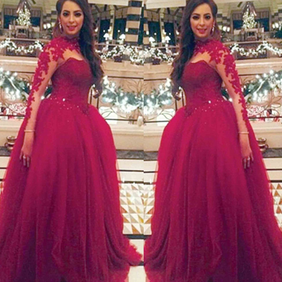 E54 Full sleeve Round Applique Sweep Brush Train Ball Gown Wedding Dress, Burgundy High Neck Long Sleeve Wedding Bridla Gowns