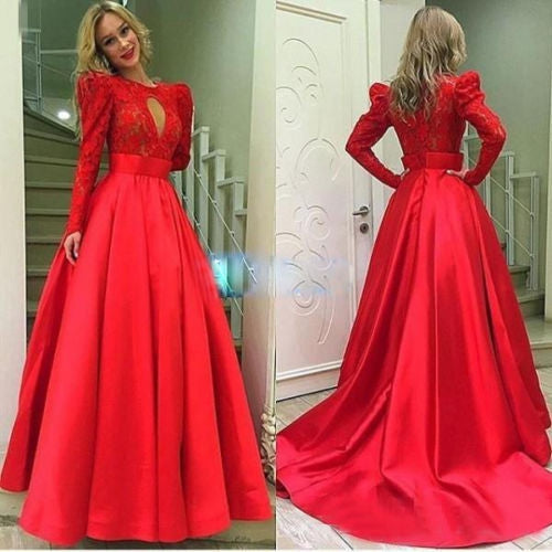 E57 Full sleeve Round Lace Zipper Sweep Brush Train Ball Gown Red Satin Prom Dress