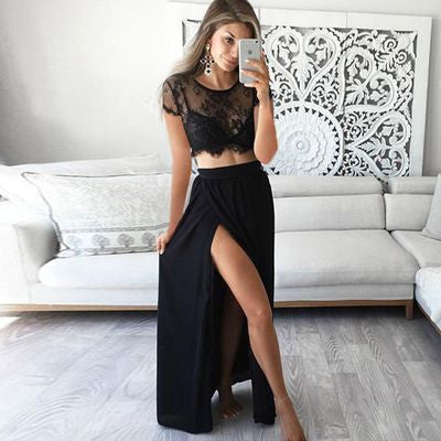 L101 Black Charming Two Pieces Prom Dresses,Lace Long Sleeves Prom Dresses With Slit Prom Dresses
